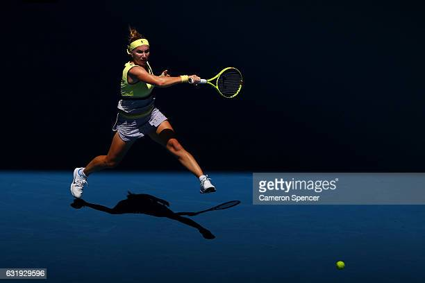 Svetlana Kuznetsova of Russia plays a forehand plays in her second round match against Jaimee Fourlis of Australia on day three of the 2017...