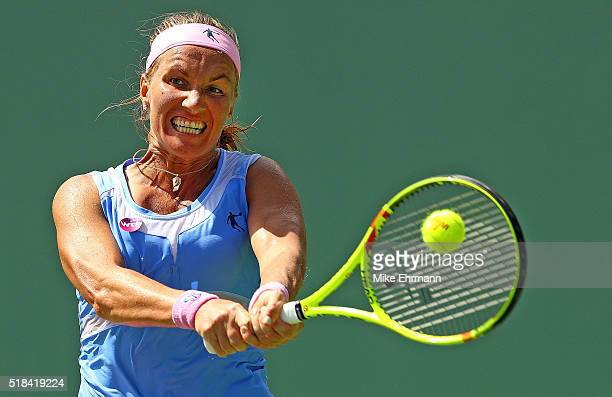 Svetlana Kuznetsova of Russia plays a semifinal match against Timea Bacsinszky of Switzerland during Day 11 of the Miami Open presented by Itau at...