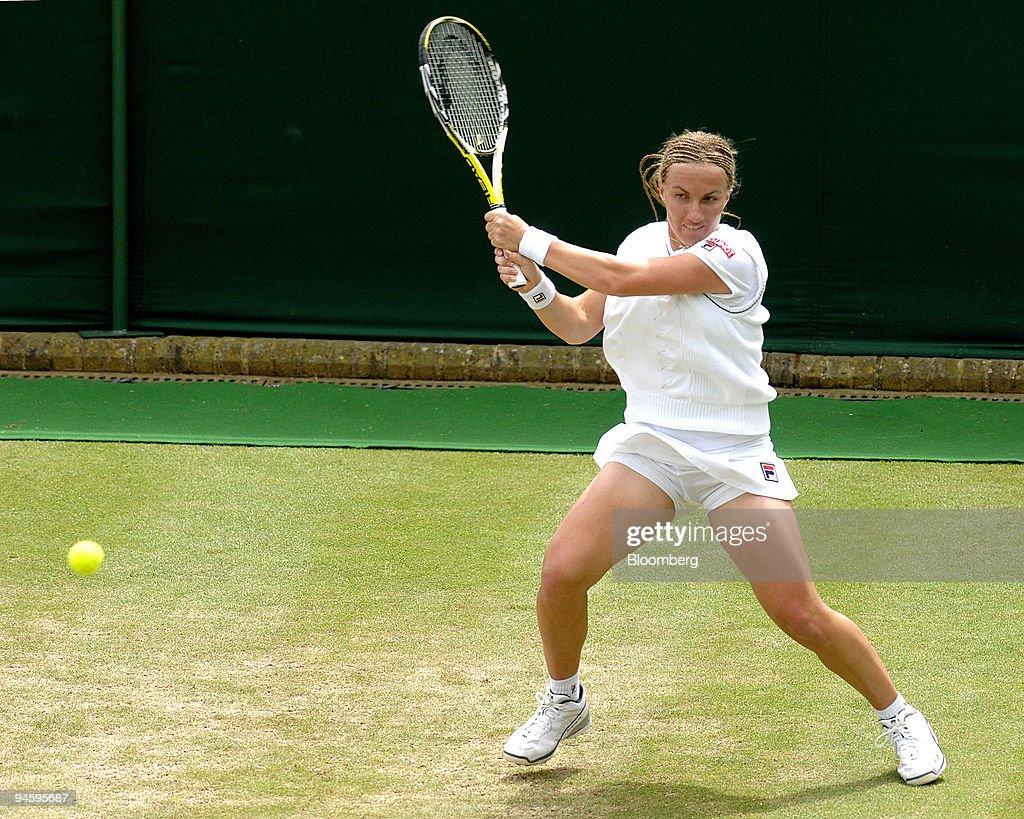 Svetlana Kuznetsova of Russia plays a two handed backhand fr