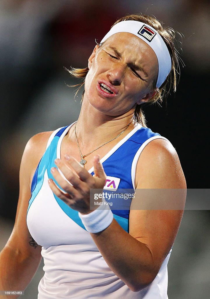 Svetlana Kuznetsova of Russia preacts after losing a point in her quarter final match against Angelique Kerber of Germany during day four of the Sydney International at Sydney Olympic Park Tennis Centre on January 9, 2013 in Sydney, Australia.
