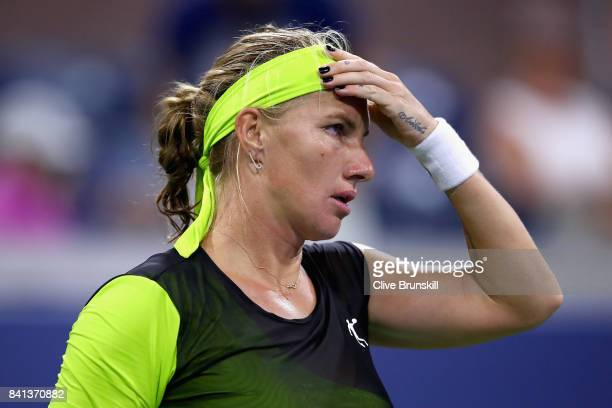 Svetlana Kuznetsova of Russia reacts against Kurumi Nara of Japan during their second round Women's Singles match on Day Four of the 2017 US Open at...