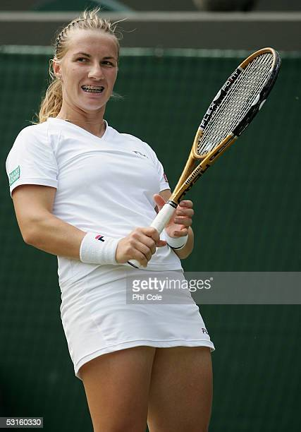 Svetlana Kuznetsova of Russia reacts against Lindsay Davenport of USA during the eighth day of the Wimbledon Lawn Tennis Championship on June 28 2005...