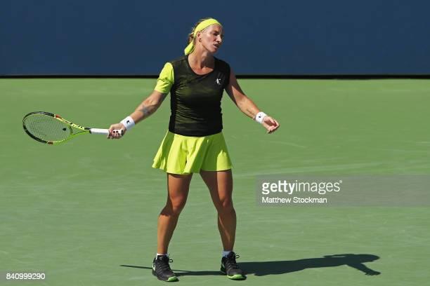 Svetlana Kuznetsova of Russia reacts against Marketa Vondrousova of the Czech Republic during their first round Women's Singles match on Day Three of...