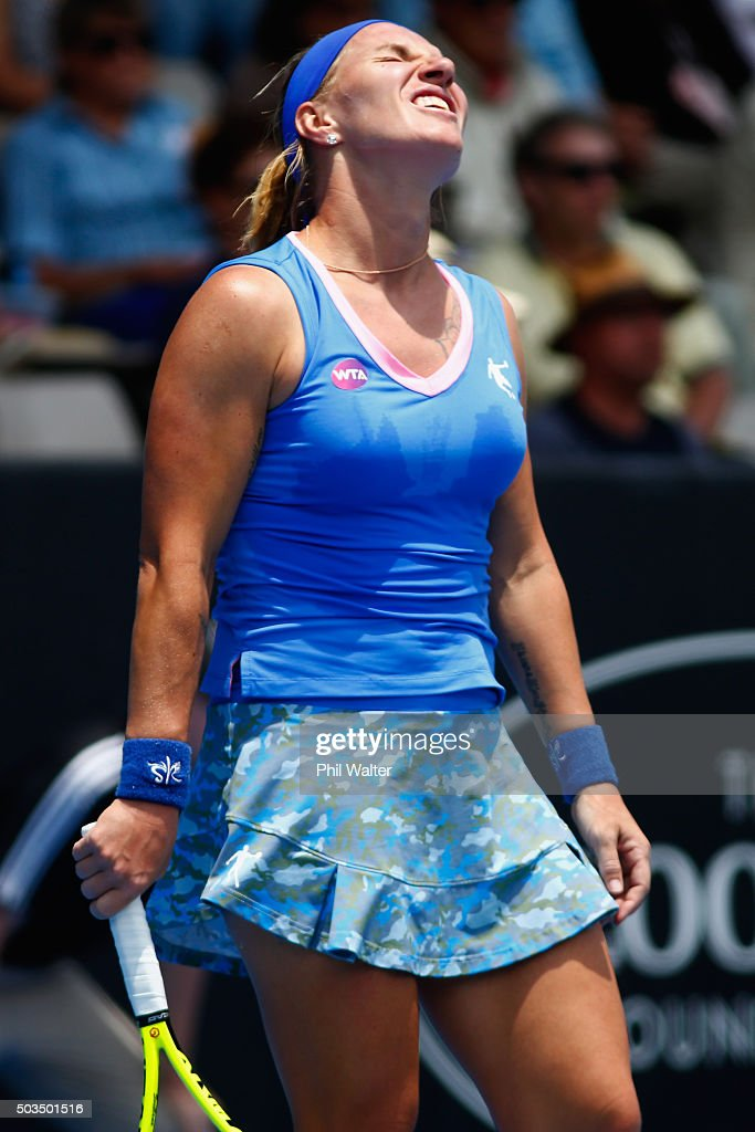 <a gi-track='captionPersonalityLinkClicked' href=/galleries/search?phrase=Svetlana+Kuznetsova&family=editorial&specificpeople=167249 ng-click='$event.stopPropagation()'>Svetlana Kuznetsova</a> of Russia reacts during her singles match against Tamita Paszek of Austria on day three of the 2016 ASB Classic at the ASB Tennis Arena on January 6, 2016 in Auckland, New Zealand.