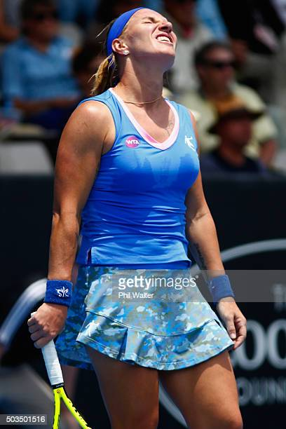 Svetlana Kuznetsova of Russia reacts during her singles match against Tamita Paszek of Austria on day three of the 2016 ASB Classic at the ASB Tennis...