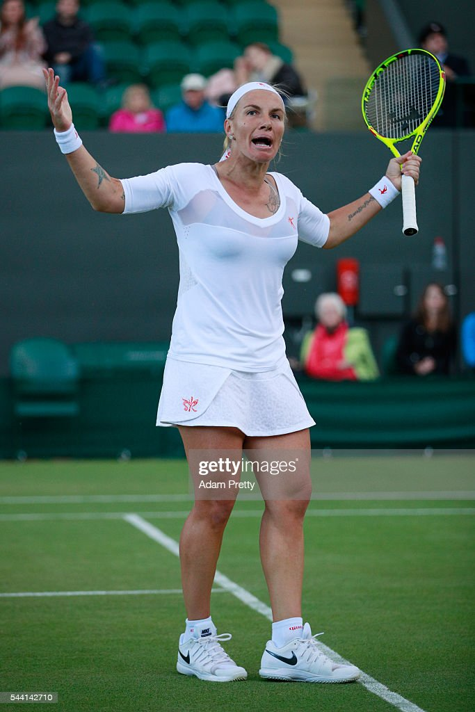 <a gi-track='captionPersonalityLinkClicked' href=/galleries/search?phrase=Svetlana+Kuznetsova&family=editorial&specificpeople=167249 ng-click='$event.stopPropagation()'>Svetlana Kuznetsova</a> of Russia reacts during the Ladies Singles second round match against Tara moore of Great Britain on day five of the Wimbledon Lawn Tennis Championships at the All England Lawn Tennis and Croquet Club on July 1, 2016 in London, England.