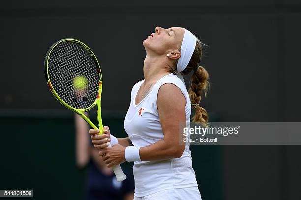 Svetlana Kuznetsova of Russia reacts during the Ladies Singles third round match against Sloane Stephens of The United States on Middle Sunday of the...