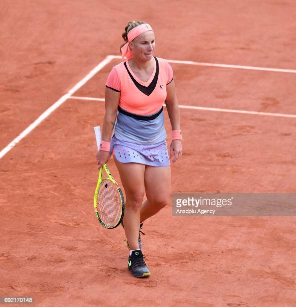 Svetlana Kuznetsova of Russia reacts during the match against Caroline Wozniacki of Denmark in their 4th round of the French Open tennis tournament...