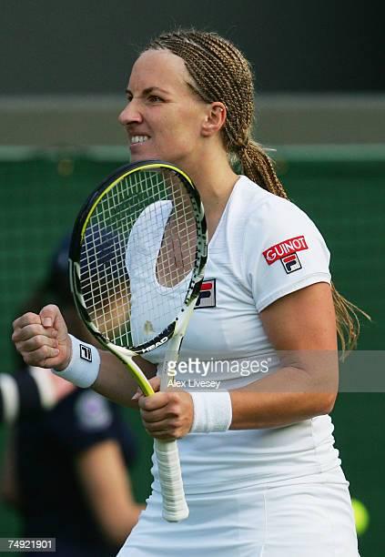 Svetlana Kuznetsova of Russia reacts during the Women's Singles first round match against Julia Vakulenko of Ukraine during day two of the Wimbledon...