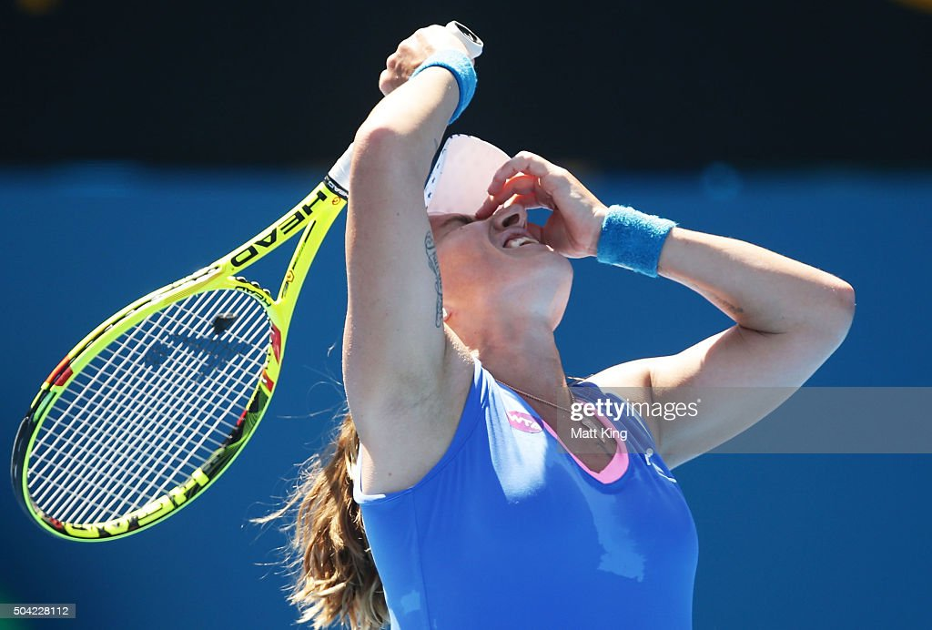 <a gi-track='captionPersonalityLinkClicked' href=/galleries/search?phrase=Svetlana+Kuznetsova&family=editorial&specificpeople=167249 ng-click='$event.stopPropagation()'>Svetlana Kuznetsova</a> of Russia reacts in her match against Tammy Patterson of Australia during day one of the 2016 Sydney International at Sydney Olympic Park Tennis Centre on January 10, 2016 in Sydney, Australia.