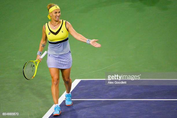 Svetlana Kuznetsova of Russia reacts to a shot against Karolina Pliskova of the Czech Republic in the women's semifinal on day 12 during the BNP...
