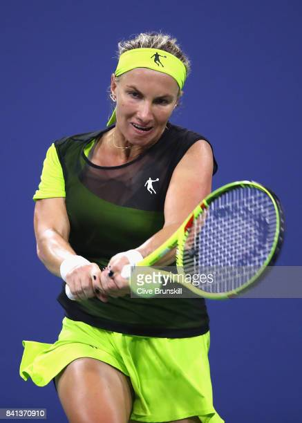 Svetlana Kuznetsova of Russia returns a shot against Kurumi Nara of Japan during their second round Women's Singles match on Day Four of the 2017 US...