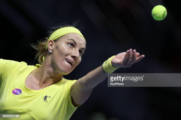 Svetlana Kuznetsova of Russia returns the ball to Daria Gavrilova of Australia during the St Petersburg Ladies Trophy ATP tennis tournament match in...