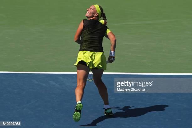 Svetlana Kuznetsova of Russia runs back against Marketa Vondrousova of the Czech Republic during their first round Women's Singles match on Day Three...