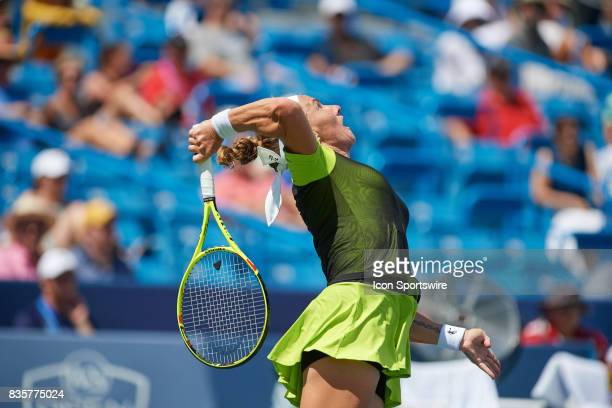 Svetlana Kuznetsova of Russia serves during a match in the Western Southern Open at the Lindner Family Tennis Center in Cincinnati OH