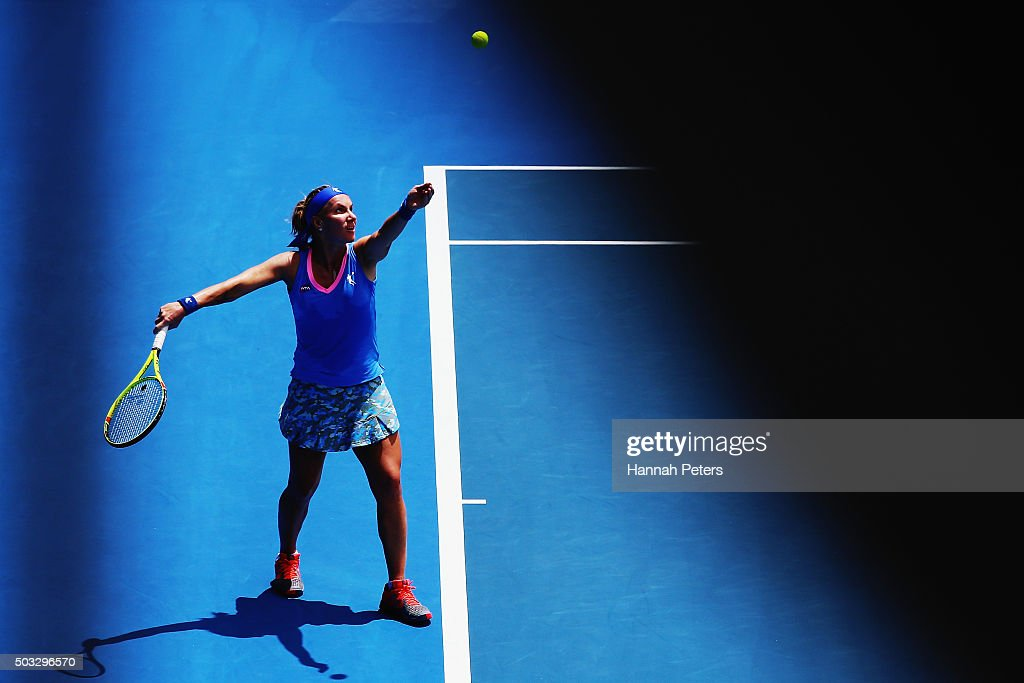 <a gi-track='captionPersonalityLinkClicked' href=/galleries/search?phrase=Svetlana+Kuznetsova&family=editorial&specificpeople=167249 ng-click='$event.stopPropagation()'>Svetlana Kuznetsova</a> of Russia serves during her first round match against Mona Barthel of Germany during day one of the 2016 ASB Classic at the ASB Tennis Arena on January 4, 2016 in Auckland, New Zealand.