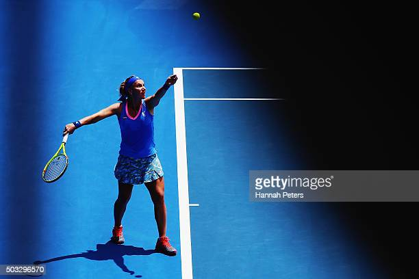 Svetlana Kuznetsova of Russia serves during her first round match against Mona Barthel of Germany during day one of the 2016 ASB Classic at the ASB...