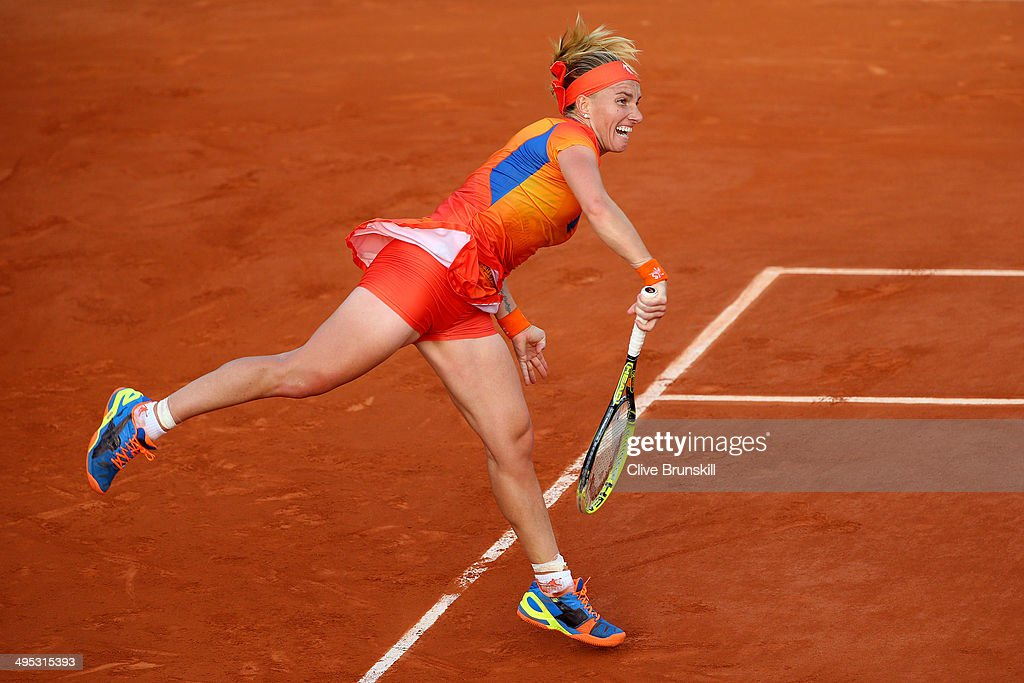 <a gi-track='captionPersonalityLinkClicked' href=/galleries/search?phrase=Svetlana+Kuznetsova&family=editorial&specificpeople=167249 ng-click='$event.stopPropagation()'>Svetlana Kuznetsova</a> of Russia serves during her women's singles match against Lucie Safarova of Czech Republic on day nine of the French Open at Roland Garros on June 2, 2014 in Paris, France.