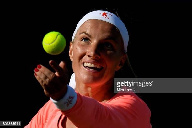 Svetlana Kuznetsova of Russia serves during the ladies singles quarter final match against Karolína Pliskova of Russia on day five of the Aegon...