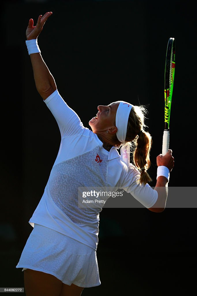 Svetlana Kuznetsova of Russia serves during the Ladies Singles second round match against Tara moore of Great Britain on day five of the Wimbledon Lawn Tennis Championships at the All England Lawn Tennis and Croquet Club on July 1, 2016 in London, England.