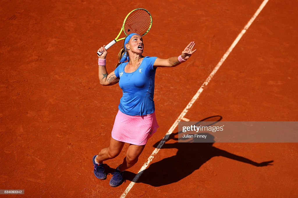 Svetlana Kuznetsova of Russia serves during the Women's Singles second round match against Heather Watson of Great Britain at Roland Garros on May 25, 2016 in Paris, France.