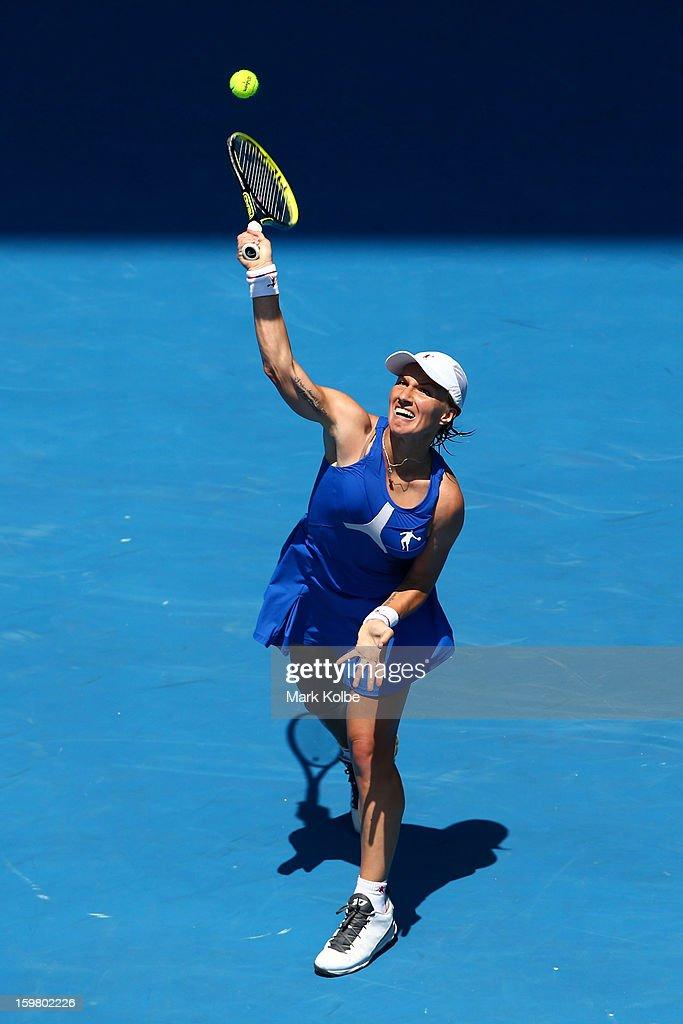 Svetlana Kuznetsova of Russia serves in her fourth round match against Caroline Wozniacki of Denmark during day eight of the 2013 Australian Open at Melbourne Park on January 21, 2013 in Melbourne, Australia.