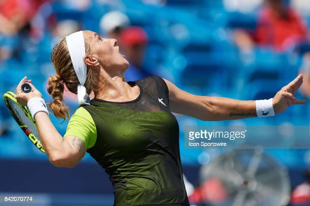 Svetlana Kuznetsova of Russia serves the ball during a match in the Western Southern Open at the Lindner Family Tennis Center in Mason Ohio on August...