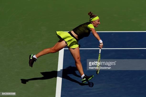 Svetlana Kuznetsova of Russia serves to Marketa Vondrousova of the Czech Republic during their first round Women's Singles match on Day Three of the...