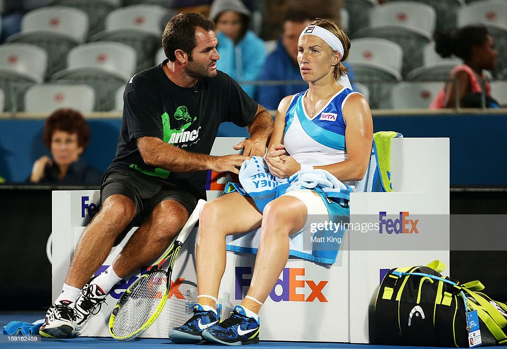 Svetlana Kuznetsova of Russia speaks to her coach in her quarter final match against Angelique Kerber of Germany during day four of the Sydney International at Sydney Olympic Park Tennis Centre on January 9, 2013 in Sydney, Australia.