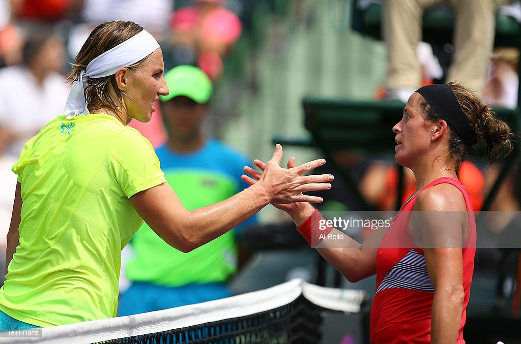 Svetlana Kuznetsova of Russiashakes hands with Lourdes Dominguez Lino of Spain after her win during Day 3 of the Sony Open at at the Crandon Park Tennis Center on March 20, 2013 in Key Biscayne, Florida.