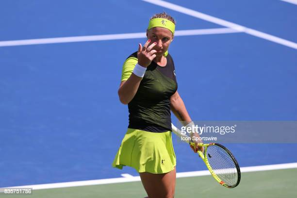 Svetlana Kuznetsova reacts during the Western Southern Open at the Lindner Family Tennis Center in Mason Ohio on August 18th 2017