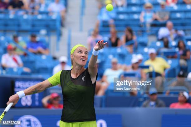 Svetlana Kuznetsova serves during the Western Southern Open at the Lindner Family Tennis Center in Mason Ohio on August 18th 2017