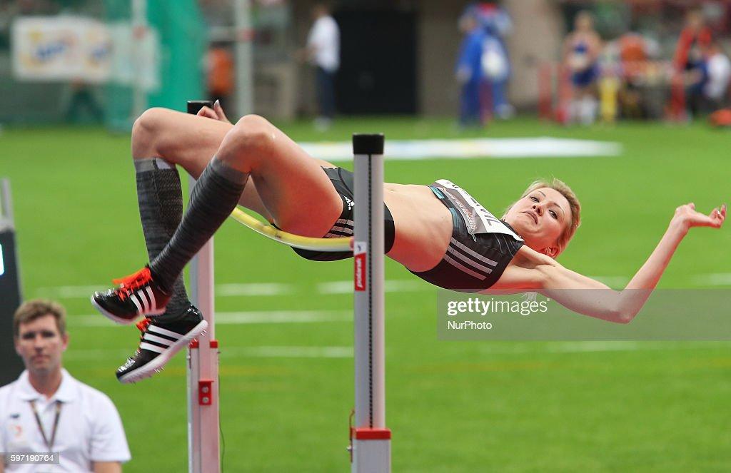 Svetlana Radzivil of Uzbekistan competes during the athletics meeting of Kamila Skolimowska at the National Stadium in Warsaw Poland on August 28 2016