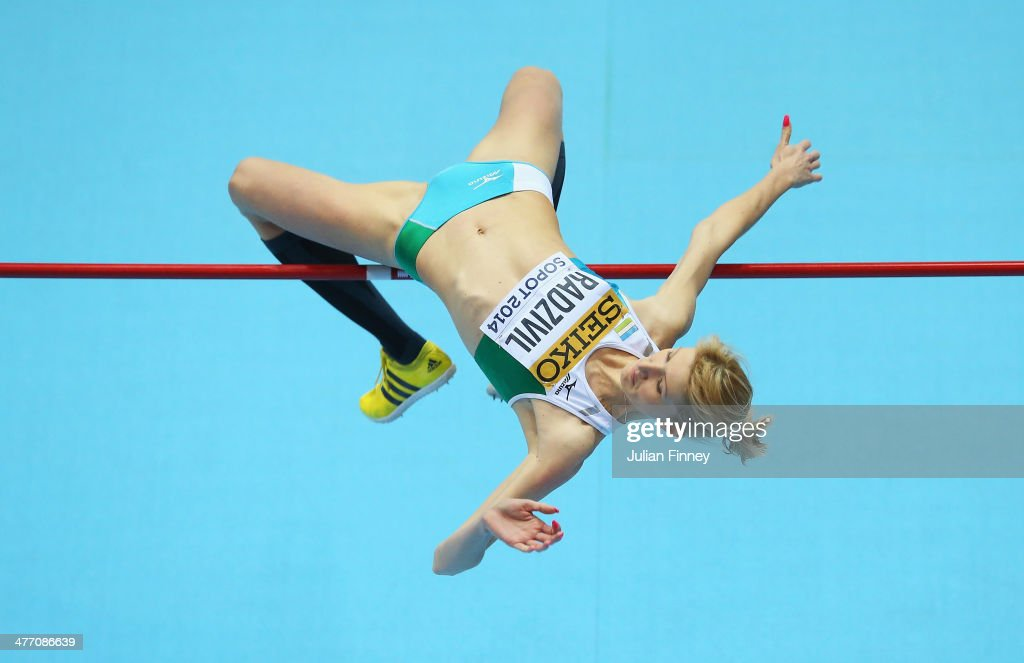 Svetlana Radzivil of Uzbekistan competes in the Women's High Jump qualification during day one of the IAAF World Indoor Championships at Ergo Arena on March 7, 2014 in Sopot, Poland.