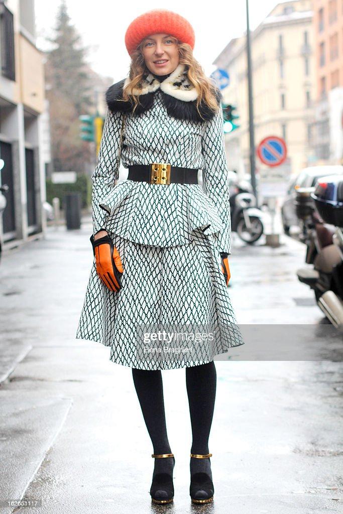 Svetlana Taccori wearing a Marni total look and Takori beanie attends the Milan Fashion Week Womenswear Fall/Winter 2013/14 on February 25, 2013 in Milan, Italy.