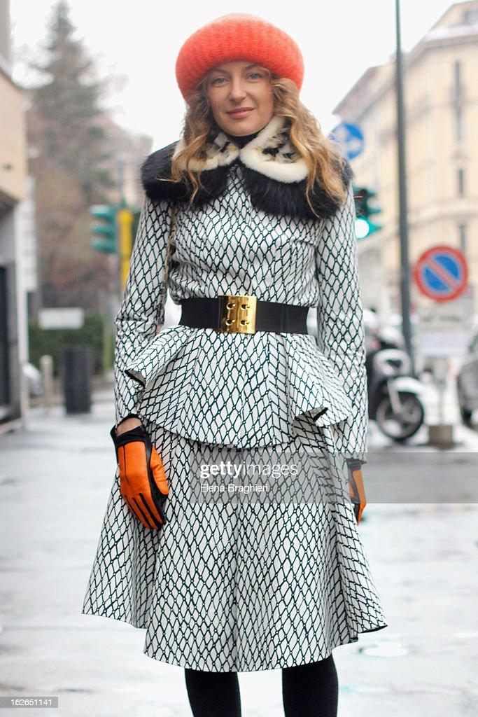 Svetlana Taccori wearing a Marni total look and Takori beanie, attends the Milan Fashion Week Womenswear Fall/Winter 2013/14 on February 25, 2013 in Milan, Italy.