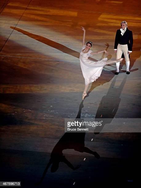 Svetlana Zakharova and Vladimir Vasiliev perform as Natasha Rostova and her father in Natasha Rostova's First Ball during the Opening Ceremony of the...