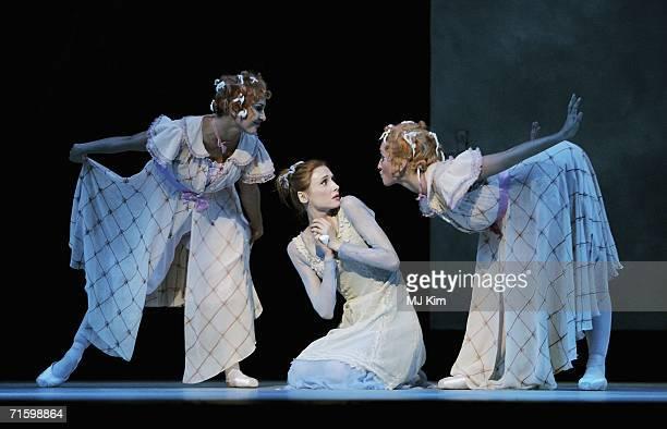 Svetlana Zakharova as Cinderella Anastasia Vinokur and Lola Kochetkova as the Stepsisters of the Moscow Bolshoi Theatre Cinderella Ballet perform at...