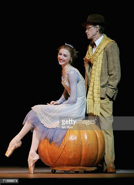Svetlana Zakharova as Cinderella and Viktor Barykin as The Storyteller of the Moscow Bolshoi Theatre Cinderella Ballet perform at the Royal Opera...