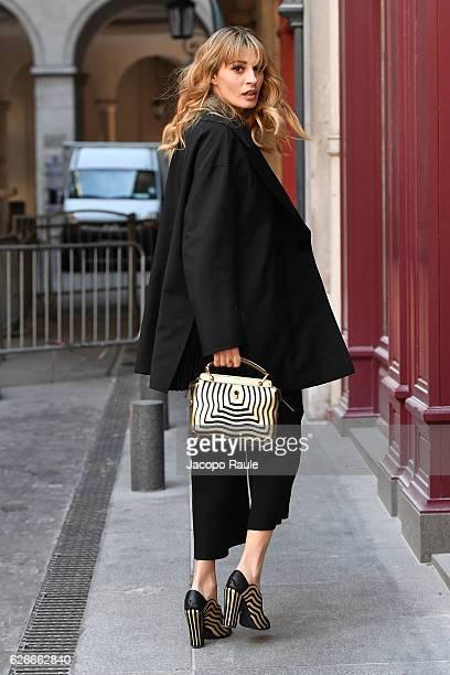 Sveva Alviti is seen arriving at L'Olympia on November 30 2016 in Paris France