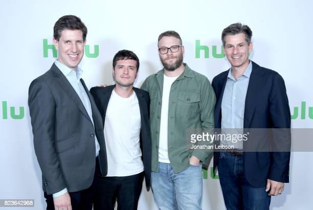 SVP/Head Content Hulu Craig Erwich actors Josh Hutcherson Seth Rogen and cheif exacutive officer of Hulu Mike Hopkins at Hulu Summer TCA at The...