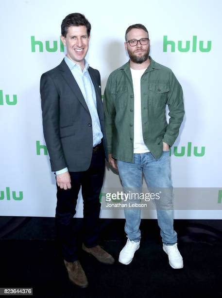 SVP/Head Content Hulu Craig Erwich and actor Seth Rogen at Hulu Summer TCA at The Beverly Hilton Hotel on July 27 2017 in Beverly Hills California