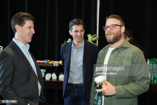 SVP/Head Content Hulu Craig Erwich cheif exacutive officer of Hulu Mike Hopkins and actor Seth Rogen at Hulu Summer TCA at The Beverly Hilton Hotel...
