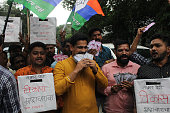 IND: Swabhiman Sanghatana Protested Outside TMC Headquarters In Thane