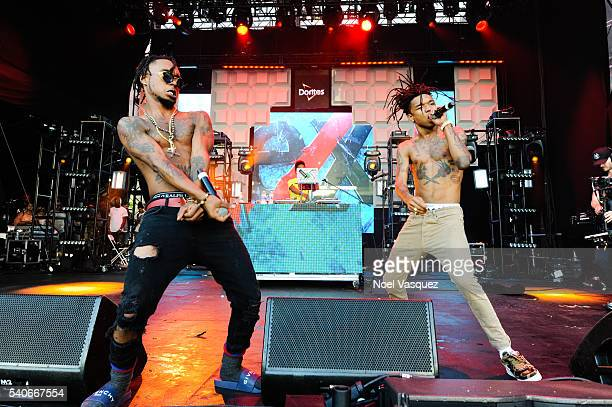 Swae Lee and Slim Jimmy of Rae Sremmurd perform at Doritos #MixArcade Day 2 at LA LIVE on June 15 2016 in Los Angeles California