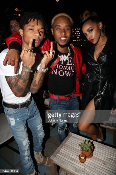 Swae Lee and Slim Jxmmi aka Rae Sremmurd pose with Tinashe at the Future x Flaunt x Reebok Celebration of 'The Eternal Issue Beyond Monuments' at...