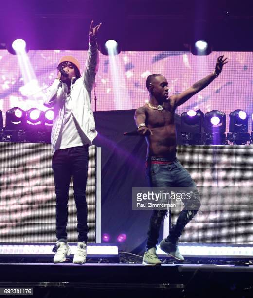 Swae Lee and Slim Jxmmi of Rae Scremmurd perform onstage during the The Weeknd Starboy Legend Of The Fall 2017 World Tour Newark New Jersey at...
