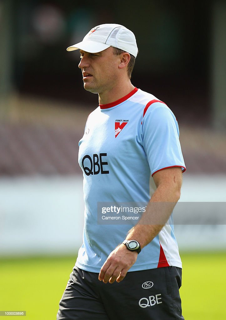 Swans assistant coach John Longmire walks during a Sydney Swans AFL training session at the Sydney Cricket Ground on May 20, 2010 in Sydney, Australia.