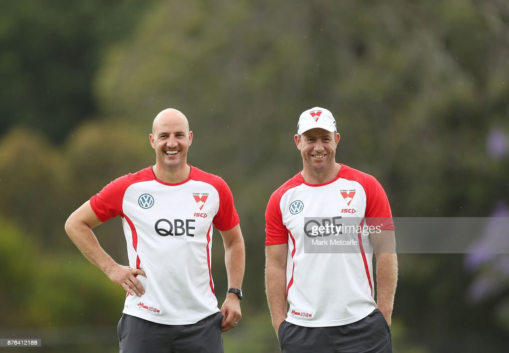 Swans assistant coaches Steve Johnson and Tadhg Kennelly smile during a Sydney Swans AFL pre-season training session at Sydney Grammar on November 20, 2017 in Sydney, Australia.