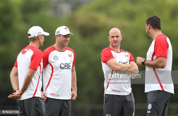 Swans assistant coaches Steve Johnson Tadhg Kennelly Brett Kirk and Dean Cox talk during a Sydney Swans AFL preseason training session at Sydney...